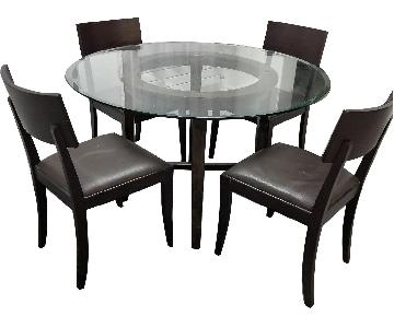 Crate & Barrel Halo Glass Round Dining Table w/ 4 Chairs