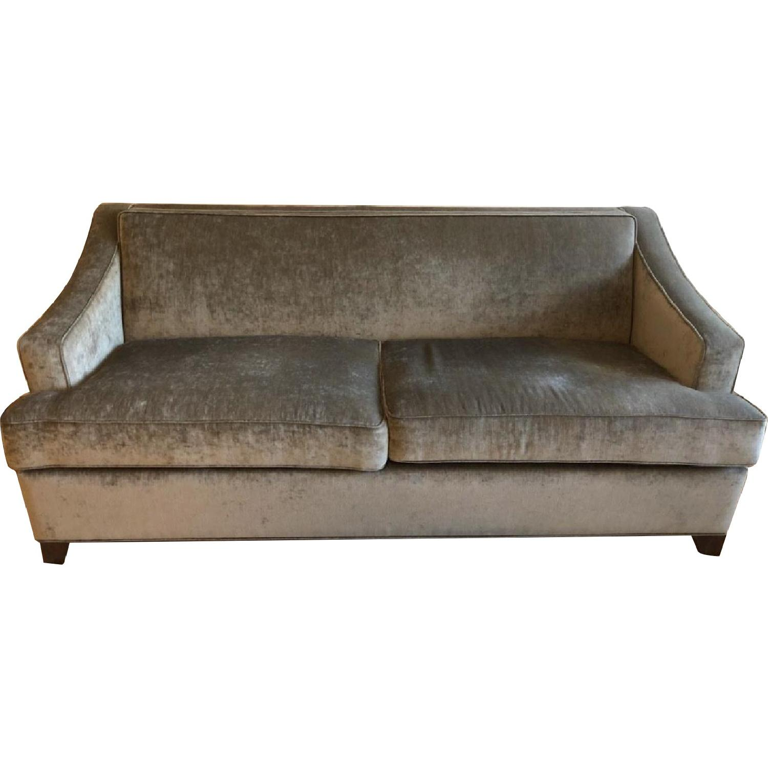 Carlyle Custom Grey Velvet Sleeper Sofa AptDeco