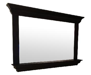 Pottery Barn Black Wood Framed Mirror w/ Shelf