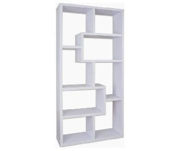 Hokku Designs White Geometric Bookcase