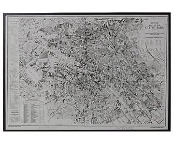 Restoration Hardware Circa 1883 Letts's Map of Paris