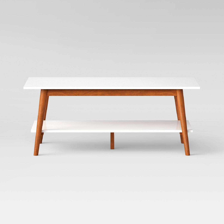 Target White Two-Tone Mid-Century Modern Coffee Table ...  sc 1 st  AptDeco & Target White Two-Tone Mid-Century Modern Coffee Table - AptDeco