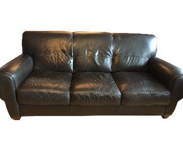 Costco Black Leather 3 Seater Sofa
