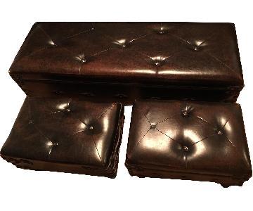 Brown Storage Bench + 2 Ottomans