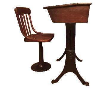 Antique Desk w/ Storage & Chair