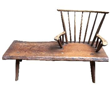 Vintage Hunt Country Furniture Bench Table