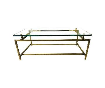 Mid Century Brass & Glass Floating Coffee Table