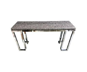 Vintage Chrome Console Table w/ Marble Top