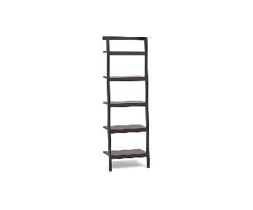 Crate & Barrel Sawyer Mocha Leaning Bookcase