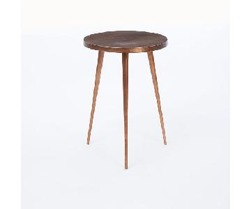 West Elm Metallic Copper Cast Tripod Side Table