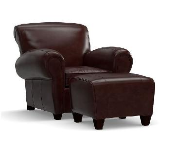 Pottery Barn Manhattan Leather Armchair & Ottoman