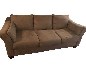 Ashley Faux Leather Tan 3-Seater Sofa