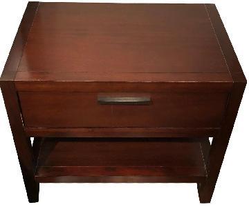 Cherry Wood Storage Nightstand