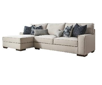 Jennifer Furniture Grey/Beige Loretta Sectional Sofa