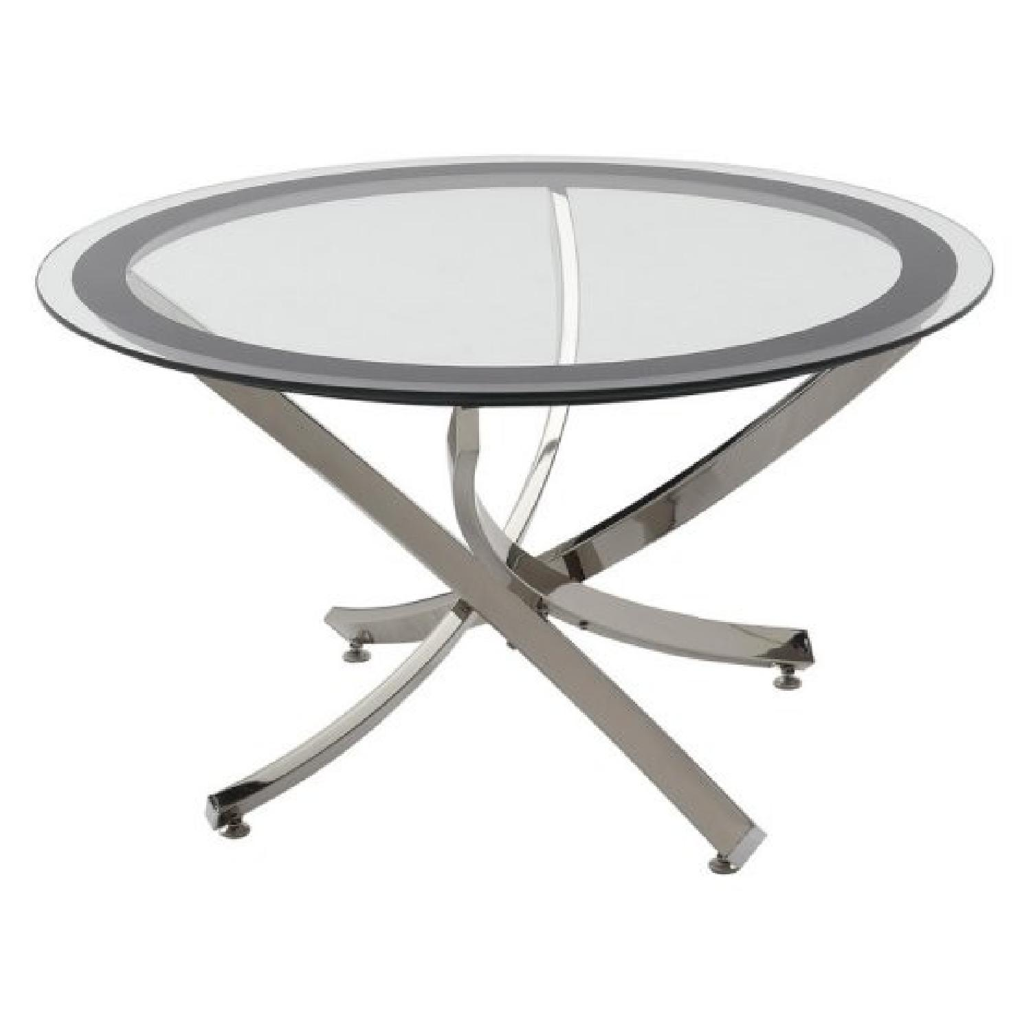 Coaster Round Glass Coffee Table + End Table