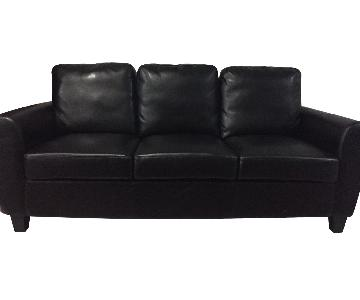 Furniture of America Black Leatherette 3-Seater Couch