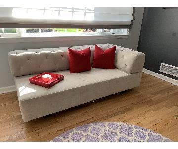 West Elm Tillary Tufted Sofa in Dove Grey