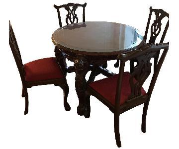 Antique Carved 5-Piece Dining Set