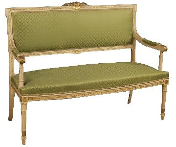 Louis XVI Style Italian Sofa in Lacquered & Gilt Wood