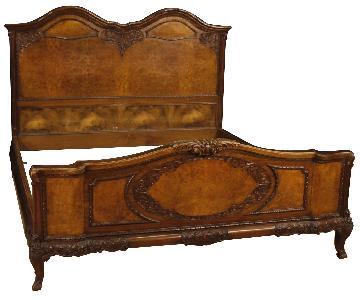 Italian Double Bed in Walnut, Burl Walnut & Burl Elm