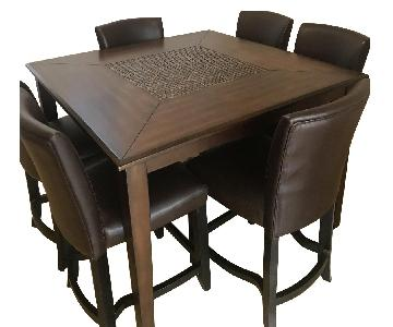 Baroque Brown Dining Table w/ 6 Chairs