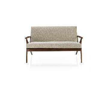 Crate & Barrel Mid-Century Style Wood Frame Beige Loveseat