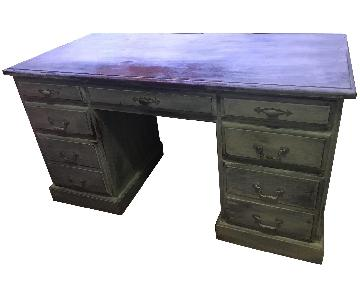Solid French White Wash Wood Desk