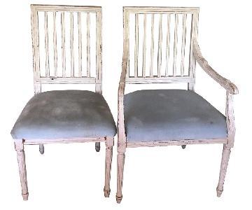 Ballard Design Distressed White/Cream Dining Chairs