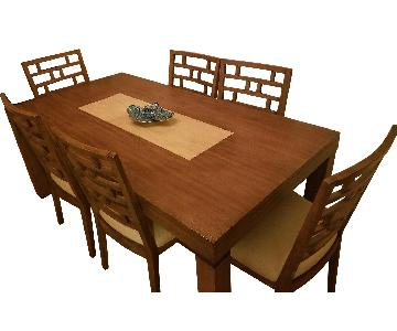 Mirabelle Light Tone Rectangular Table w/ 6 Wood Chairs