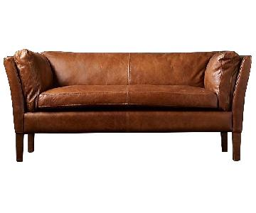 Restoration Hardware Sorensen Leather Sofa in Chestnut Brown