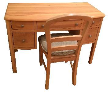 Wood Desk & Matching Chair