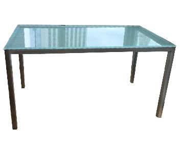 Parallel Lines Parsons Glass Dining Table