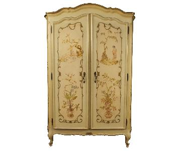 Venetian Wardrobe in Painted & Gilt Chinoiserie Wood