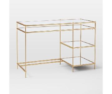 West Elm Terrace Desk in Antique Brass/Glass