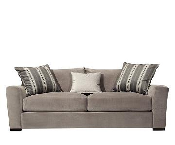 Raymour & Flanigan Grey Carlin Microfiber Sofa
