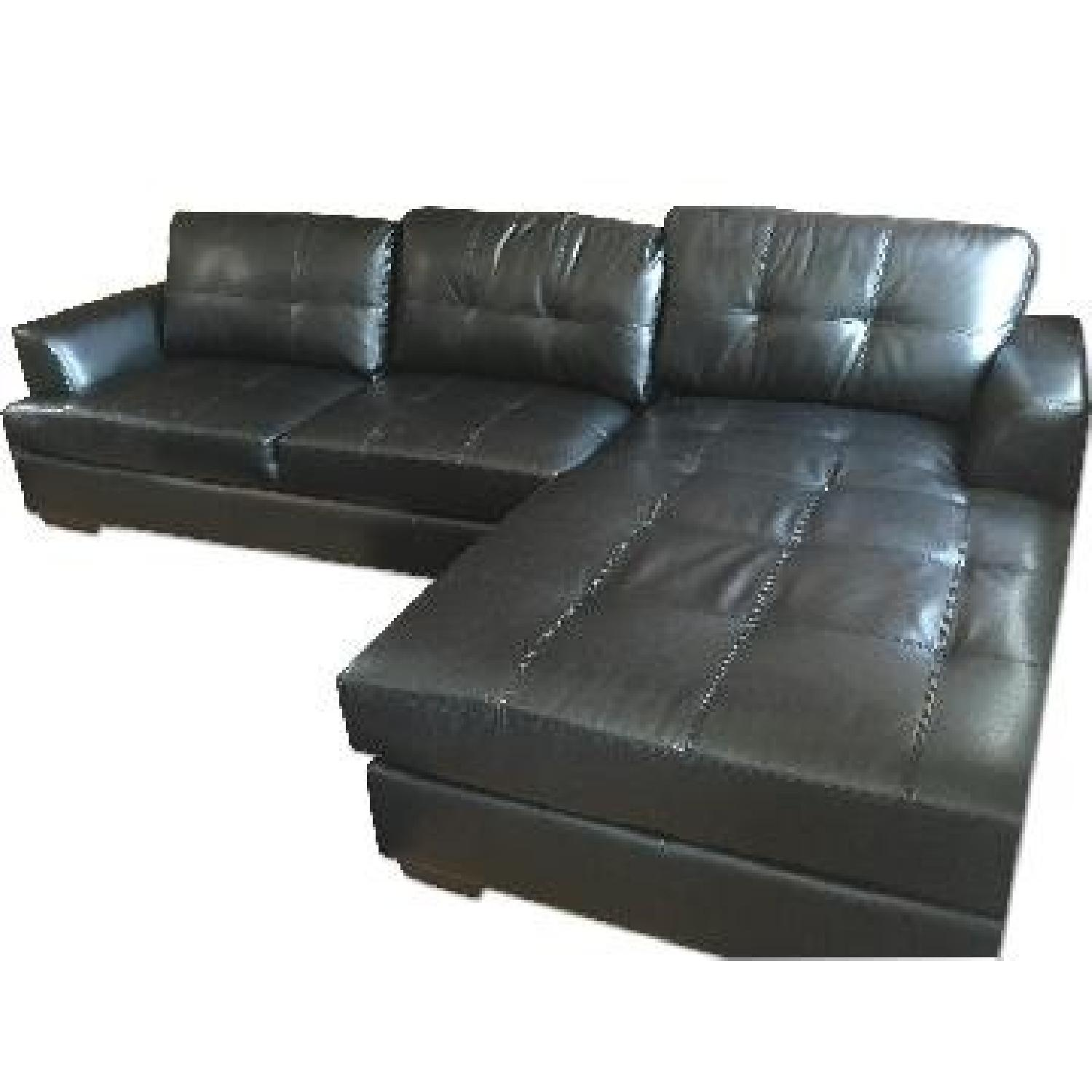 Wayfair Black Faux Leather Sectional Sofa AptDeco