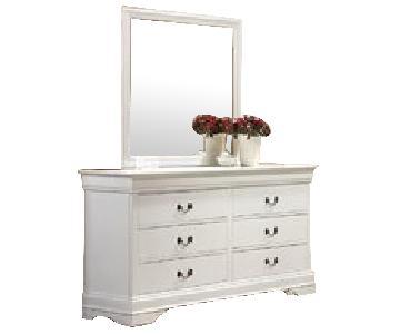 Coaster Fine Furniture White 6 Drawer Dresser w/ Mirror