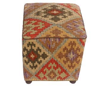 Marcell Tan/Rust Kilim Handmade Ottoman