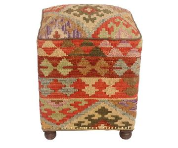 Tegan Rust/Tan Kilim Upholstered Handmade Ottoman