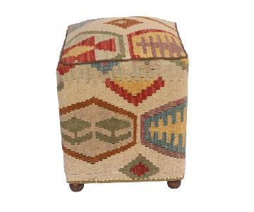 Chiquita Tan/Rust Kilim Upholstered Handmade Ottoman
