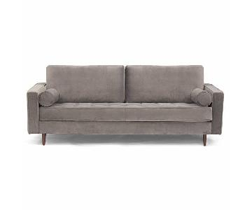 Mistana Derry Grey Velvet & Poly Sofa