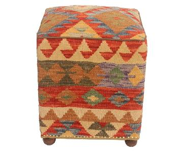 Daina Brown/Rust Kilim Handmade Ottoman