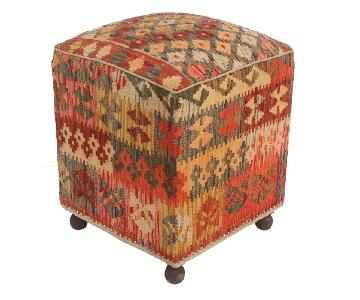 Maryland Rust/Gray Kilim Upholstered Handmade Ottoman