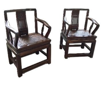 Antique Chinese Shantong Arm Chairs - Pair