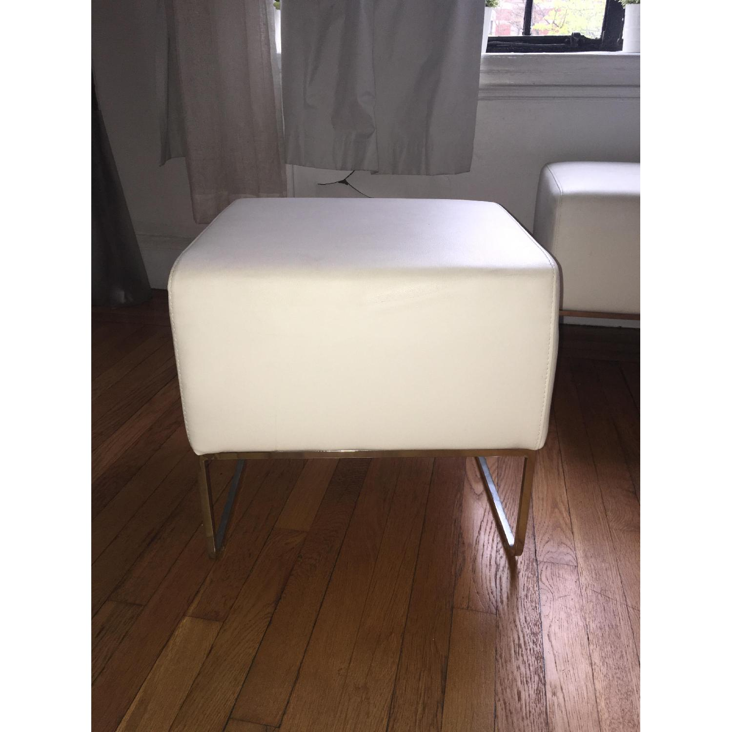 White Leather Ottoman Pouf Footstools - 3 Available - image-1
