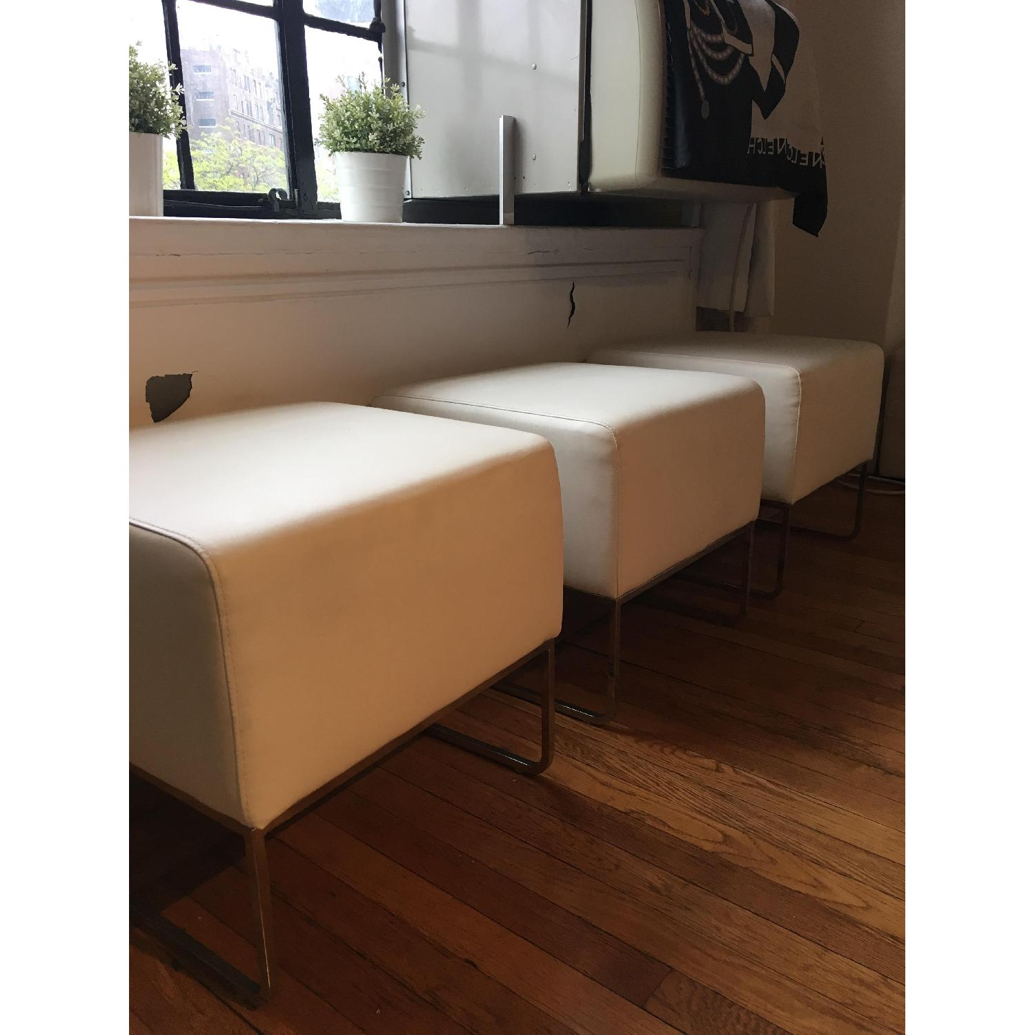 White Leather Ottoman Pouf Footstools - 3 Available - image-4
