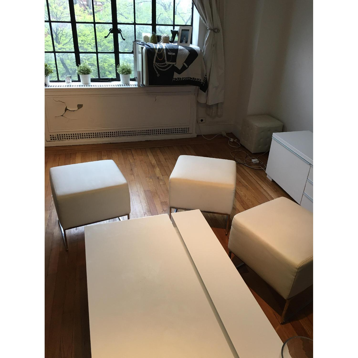 White Leather Ottoman Pouf Footstools - 3 Available - image-5