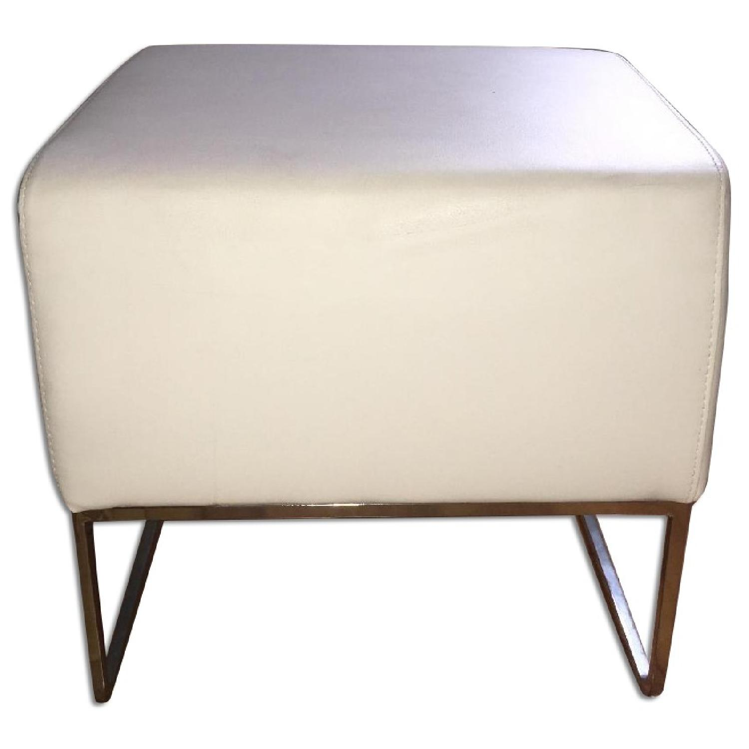 White Leather Ottoman Pouf Footstools - 3 Available - image-0