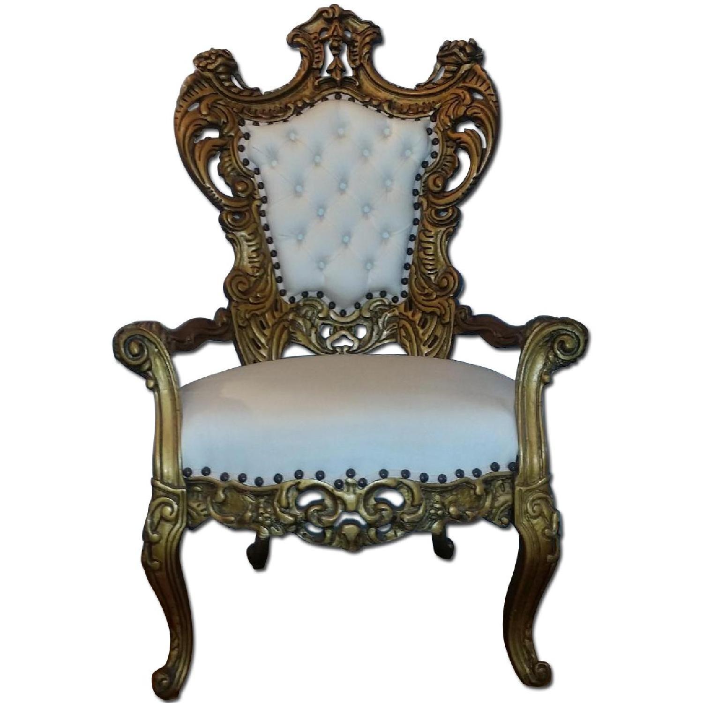 White Antique Baroque Throne Chair 2 Available AptDeco
