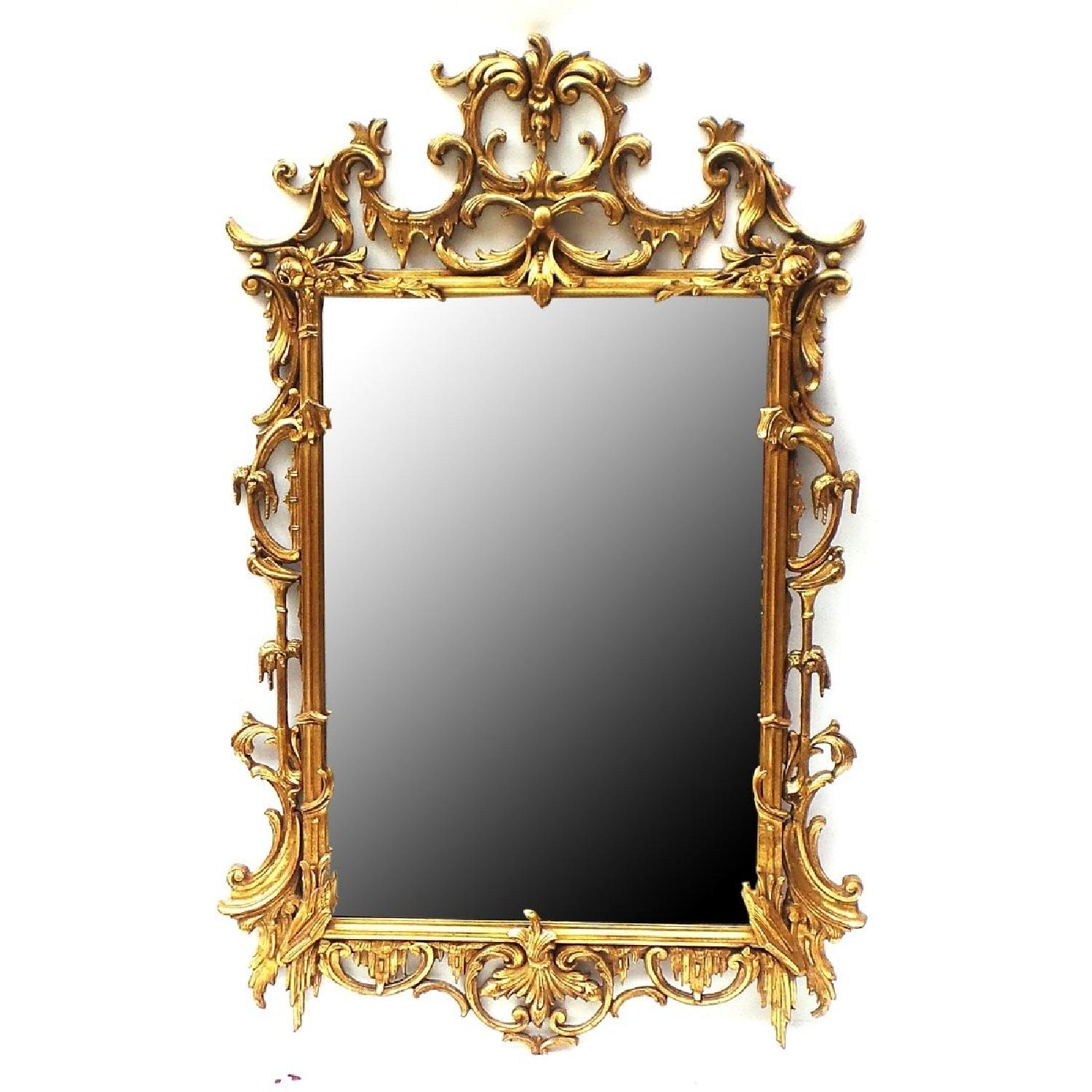 Hand Carved Gilt Wood Mirror - image-0